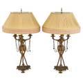 Pair of bronze candelabra lamps