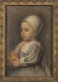Oil on canvas portrait of a child