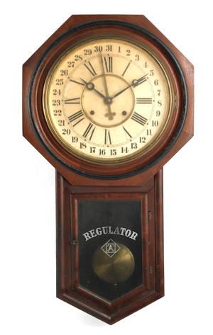 Ansonia walnut regulator clock