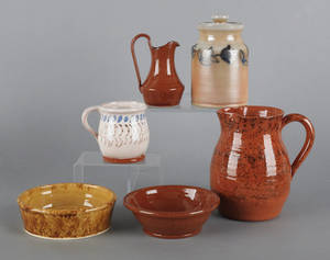 Five pieces of reproduction John Bell pottery by James Smith and Jack Handshaw