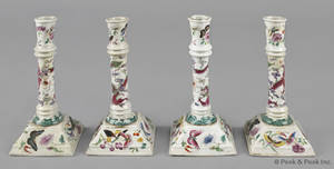 Set of four Chinese export porcelain famille rose candlesticks 19th c
