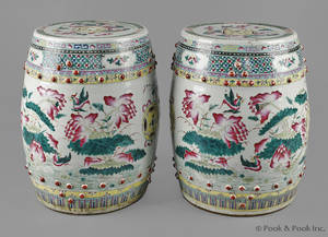 Pair of Chinese export porcelain barrel form garden seat mid 19th c