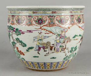 Chinese export rose mandarin porcelain planter late 19th c