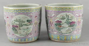 Pair of Chinese export porcelain famille rose planters late 19th c