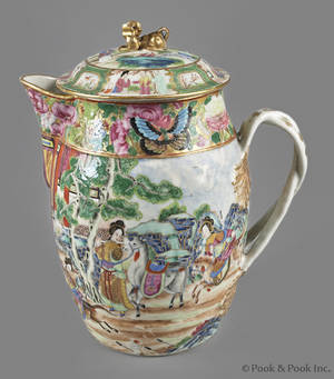 Chinese export porcelain famille rose cider jug and cover 19th c