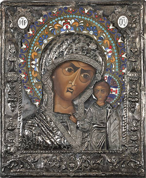Russian enameled and hammered silver icon of mother and child late 19th c