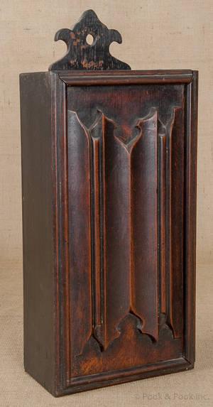 English oak candlebox mid 18th c