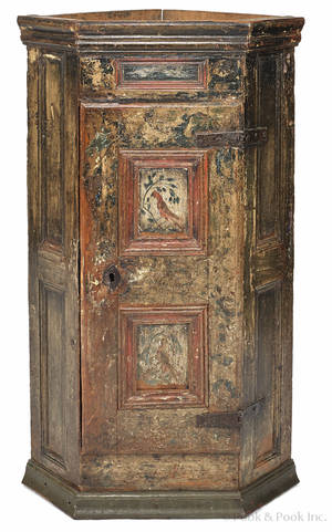 Continental painted pine hanging corner cupboard late 18th c