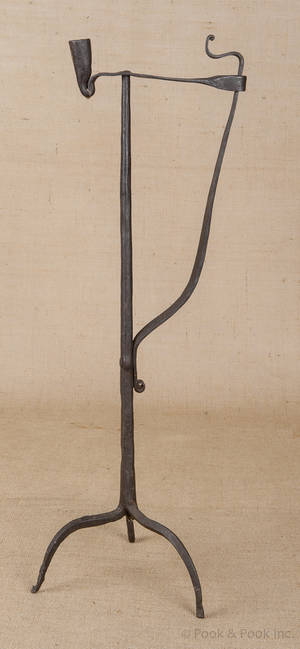 Wrought iron rush light and candle holder early 18th c