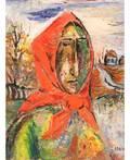 DAVID BURLIUK RUSSIAN 18821967 Woman in Red Scarf
