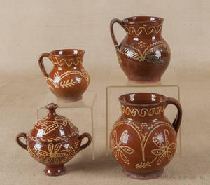 Collection of French slip decorated redware