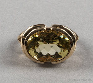 14K yellow gold citrine ring with a high setting