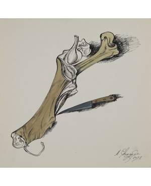 MIKHAIL CHEMIAKIN RUSSIAN B 1943 Still Life with a Bone and a Knife