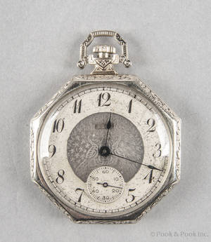 14K white gold Elgin octagonal form pocket watch with an open face case and fifteen jewels