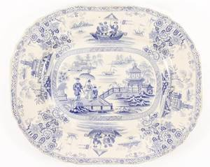 19th C Nankin Blue  White Stoneware Platter