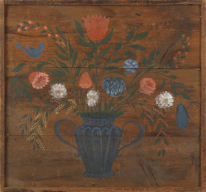Still life of an urn of flowers painted on barn wood