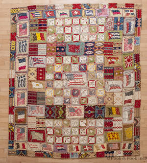 Pieced flag quilt with baseball player patches