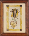 Watercolor bookplate of a tulip emerging from a heart