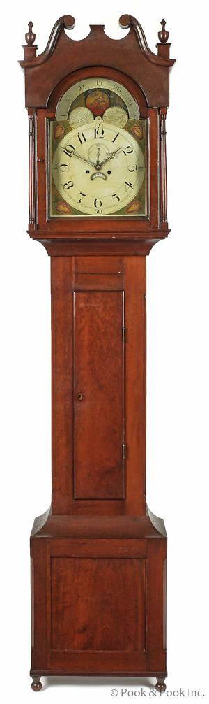 Pennsylvania Sheraton cherry tall case clock ca 1825