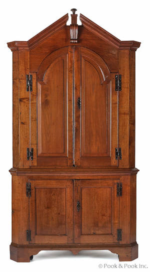 Pennsylvania Chippendale walnut twopart corner cupboard late 18th c