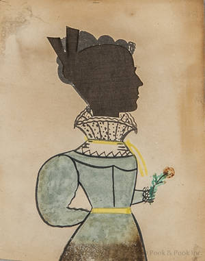 Attributed to the Puffy Sleeve Artist miniature watercolor on paper portrait early 19th c