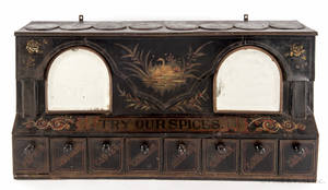 Tin countertop spice box ca 1880