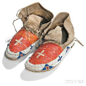Pair of Lakota Buffalo Hide Beaded and Quilled Moccasins
