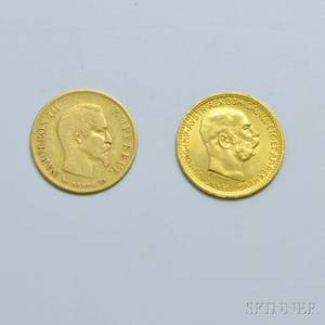 Two Gold Coins 1858 French 10 Franc and a 1912 Austrian 10 Corona Restrike