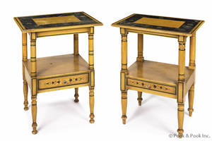 Pair of New England painted Sheraton end tables