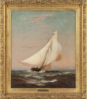 Warren Sheppard New Jersey 18581937 Portrait of a Sailing Yacht Flying the Burgee of the New York Yacht Club