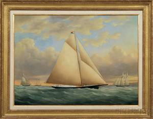 American School c 185660 The Yacht Julia in the New York Yacht Club Race off Sandy Hook New Jersey