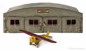 Buddy L pressed steel  Monoplane  and hanger