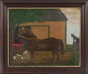 American School 19th Century Portrait of a Horse with Cat and Dog in Front of a Barn