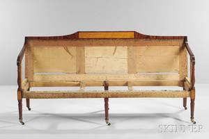 Carved Mahogany Mahogany Veneer and Birdseye Mapleinlaid Sofa