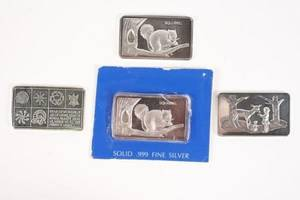 Collection of Four 999 Fine Silver Ingots