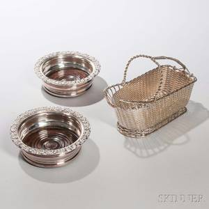 Two Silverplated Wine Coasters and a Christofle Silverplated Bottle Basket coasters dia 6 12 Gallia Collection bottle basket lg