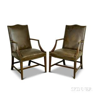Pair of Federalstyle Upholstered Mahogany Lolling Chairs
