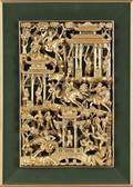Chinese carved and gilded relief plaque