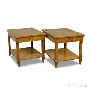 Pair of Baker Walnut Onedrawer End Tables