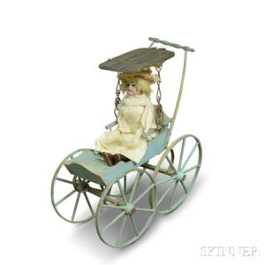 Painted Doll Carriage and a Bisque Shoulder Head Doll