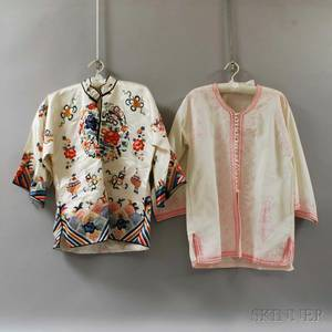 Chinese Embroidered Silk Jacket and a Burmese Embroidered Cotton Jacket