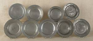 Collection of English pewter plates and bowls