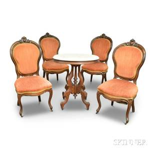 Set of Four Rococo Revival Carved Walnut Side Chairs and a Renaissance Revival Marbletop Table