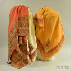 Two Kashmir Embroidered Shawls and a European Square Shawl
