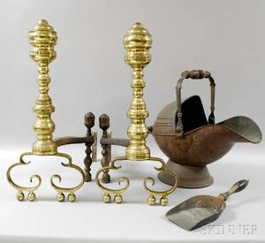 Pair of Turned Brass Andirons a Coal Hod and a Scoop