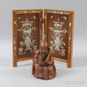 Motherofpearl Inlaid Hardwood Table Screen and a Carved Wood Figure of a Man