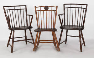 Pair of Pennsylvania birdcage Windsor armchairs