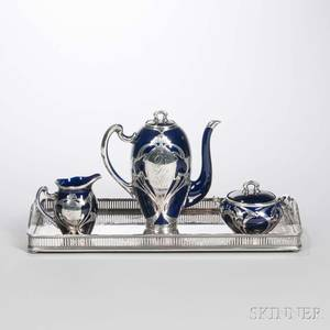 Threepiece Lenox Cobalt and Silver Overlay Ceramic Tea Set and a Silverplated Tray