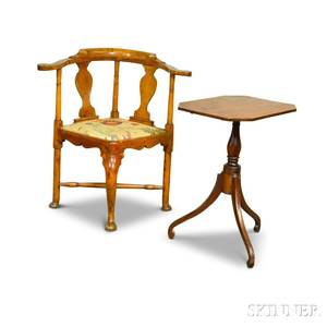 Queen Anne Maple Roundabout Chair and Federal Cherry Tilttop Candlestand