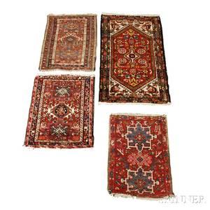 Three Karadja Mats and a Hamadan Rug